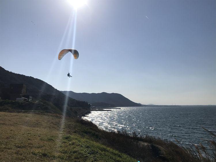 雄大な三河湾を眺めながら飛行